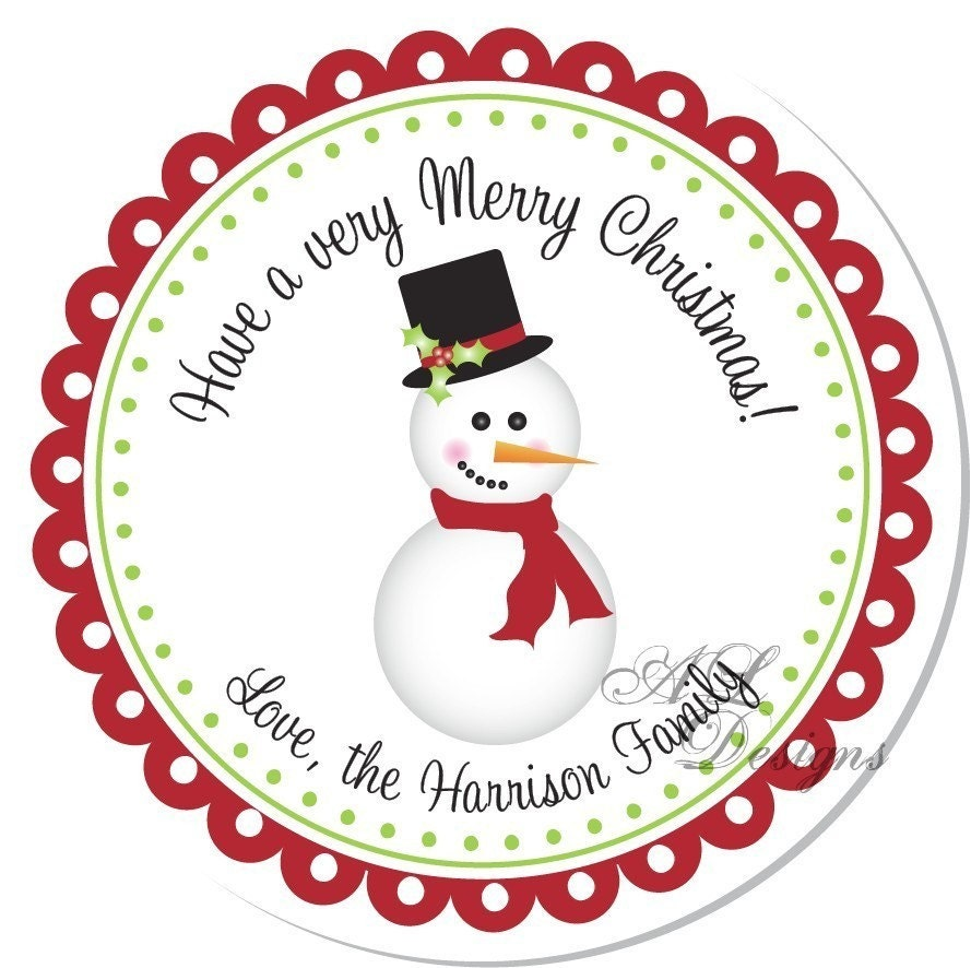 Personalized Christmas Sticker Snowman By Autumnleah On Etsy