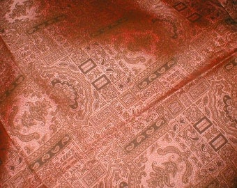 Exotic Fabric  - Rust Ground and Black  Sateen- Vintage 1950's -  2  Plus Yds.