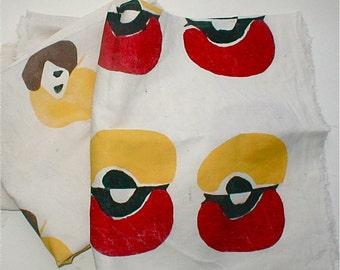 Potato Print on Muslin - Vintage Hand Printed Fabric with Apple Designs