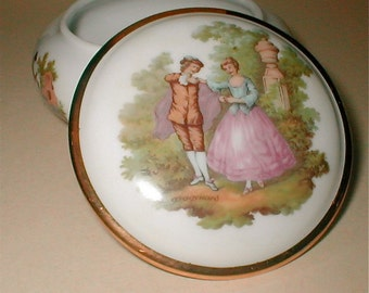 Bayreuth Porcelain Vanity Jar - The Fragonard Lovers