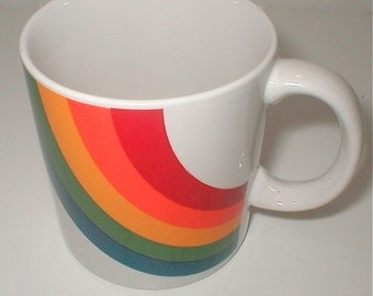 Rainbow Mug   ROYGBIV Your Morning Cup Vintage Ceramic Coffee Cup