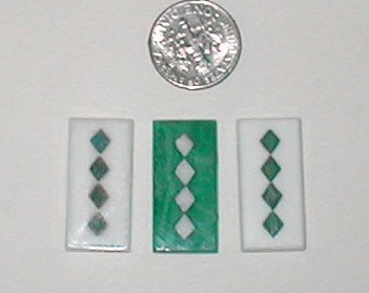 3 Vintage Marquetry Tiny Tiles of Beveled Glass