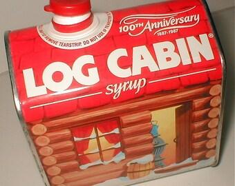 Log Cabin Syrup Tin - 100th Anniversary - 1987