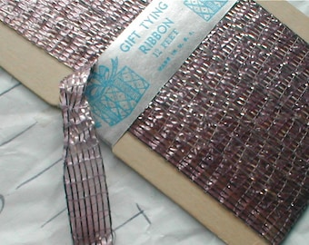 Vintage Tinsel Ribbon - Dusty Pink and Silver - 4 yds. -  Half Inch Wide-