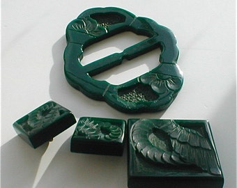 Deco Bakelite Carved  Buckle and Button Set - Wing and Thrown Coin - Lucky  - Made in France -Vintage 30s