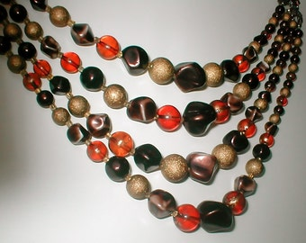 Coffee and Tea Four Strand Beaded Necklace - Vintage Choker 1950's