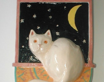 White Cat Window Watcher - 3 D Ceramic Hanging Tile - Hand Made and Signed - Dundee Scotland