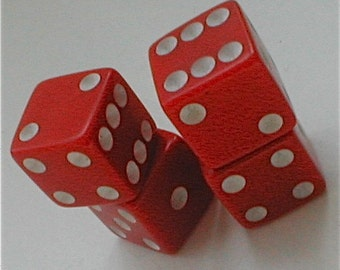 Red Bakelite Dice - 2 Sets - Vintage 50s Gaming Pieces Betting Red Hot Sevens