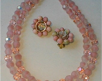 Ballerina Pink Bead Necklace - Mid Century Vintage 50's Double Strand Choker Matching Earrings