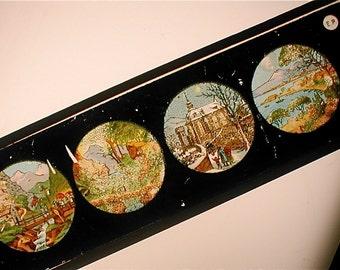 Vintage Magic Lantern Glass Slide - Four Scenes -  Four Seasons -  Snowy Vermont