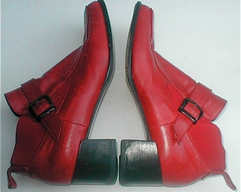 Red Shoes  - Vintage 80s Felici Red Leather Italian High Cut Shoes  - Size 8