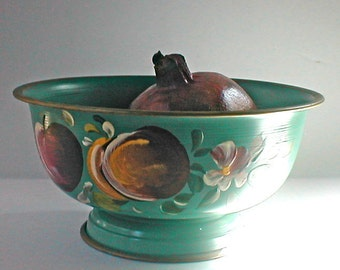 Nashco Products - Traditional Tole Painted Metal Bowl  Fruits -  Vintage 1960s