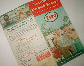 Fold Out Map Southeast United States Vintage 1953 Esso Standard And Oil