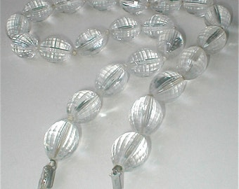 Faceted Clear Acrylic Plastic Lucite Beaded Necklace  Watermelon Football Shaped Vintage Mid Century 50s