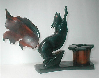 Squirrel - Hand Carved Moose Horn Sculpture - Vintage 30s Folk Art