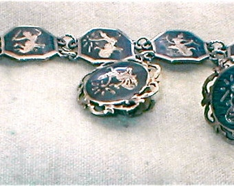 1930s Sterling Siam Bracelet and Earrings Exotic Vintage Jewelry