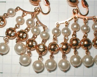 Every Move You Make Pearl Curtain  Hanging Chandeleir Earrings--Vintage 60s Mod Gold and Pearl