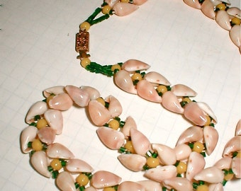 Tiny Cowrie Shell Necklace-Beaded Island Beauty - Vintage