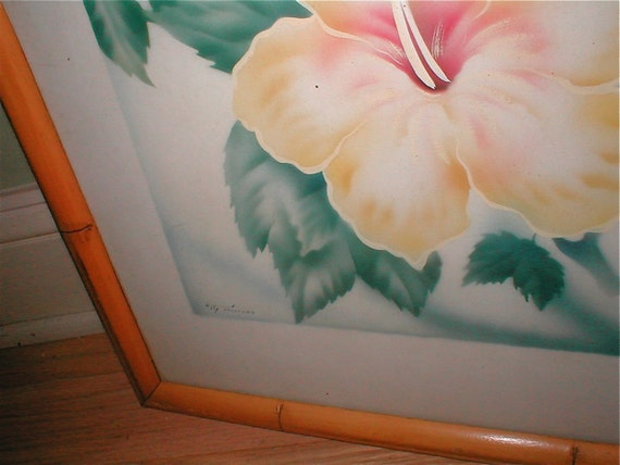 Reserved    Tip Freeman Botanical  Airbrushed Painting -  Hibiscus Flower  - Vintage 1940s Hand Painted Art