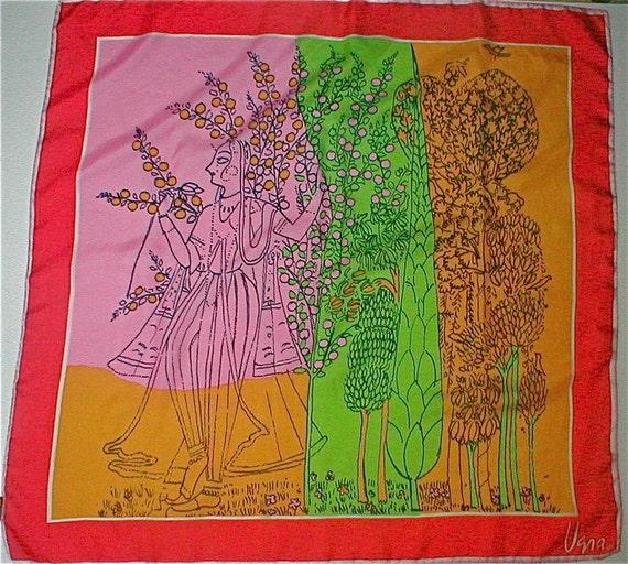 RESERVED ----  Vintage Vera Silk Scarf - From Vera Neuman - 1970s - India Maid- Figural Vera