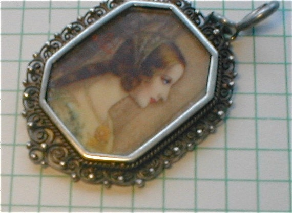 Gothic Revival  Portrait Pendant - Signed Hand Painted Beauty on Celluloid - Medieval Maiden Sterling Setting