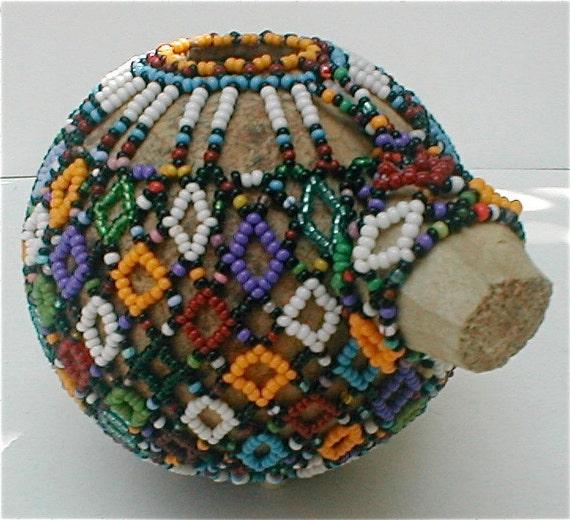 Hand Beaded African Art Gourd Pot - Vintage 60's Folk Art Tiny Vessel Cachepot