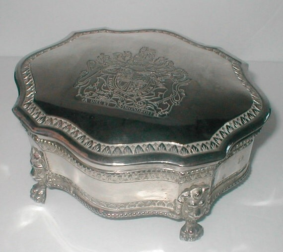 silver plated monarchy jewelry box dieu et mon droit