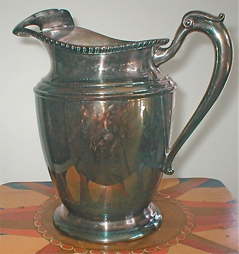 Crescent Silver Water Pitcher Vintage Table Necessary