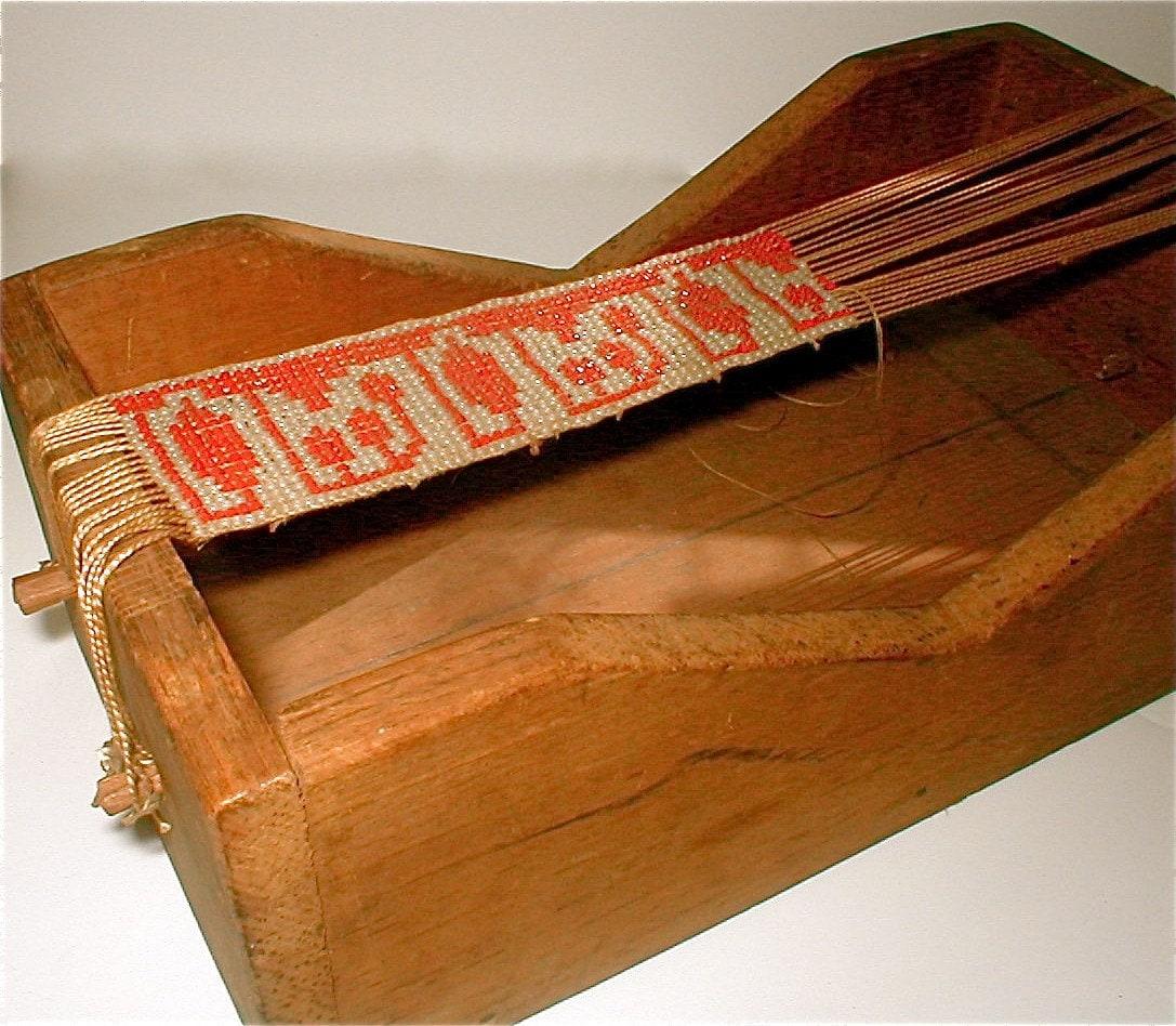 Antique Wood Box Loom Beading Interrupted Vintage 1900s
