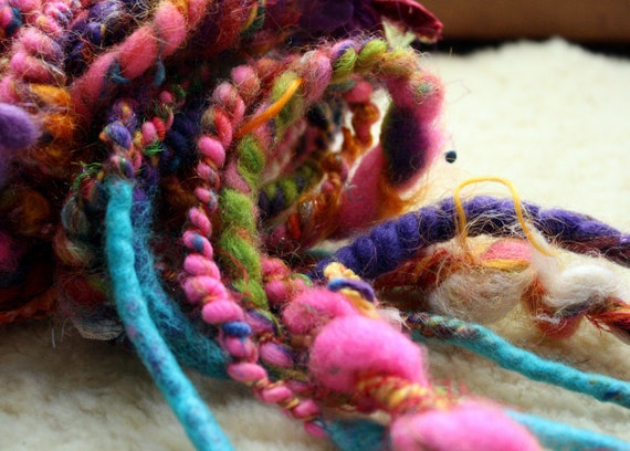 Faerie Bits  - Handmade Handspun Felted Wool Double Ended Dread Falls