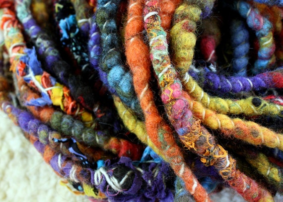 Mondo Wrapped Raggedylocks - Faerie Spun Dreads - United Colors - Handmade Felted Wool Double Ended Dread Falls