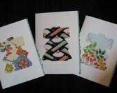 Handmade Japanese vintage kimono silk greeting cards - set of 3