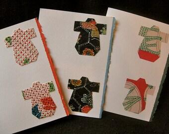 Handmade Kimono silk greeting cards - baby shower cards - set of 3