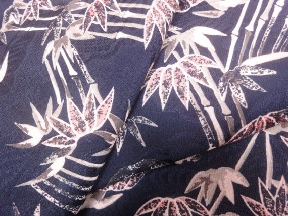 "Blue  floral Japanese silk crepe kimono fabric 10x41"""