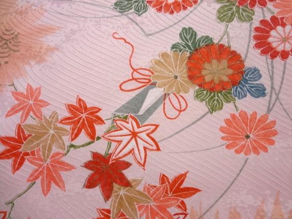 "Floral Japanese kimono  fabric panel 13x39"""