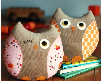 Owl Sewing Pattern - Stella and Stewart Owl Softies PDF Sewing Pattern - Owl Toy - Owl Pillow Instant Download