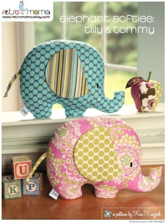 Stuffed Animal Pattern - PDF Sewing Pattern Tilly and Tommy Elephant Softies - Instant Download