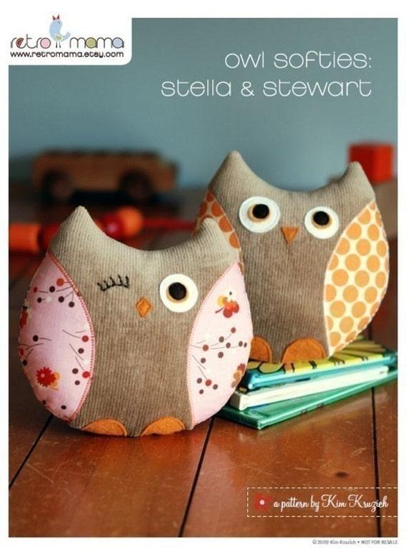 PDF Sewing Pattern Stella and Stewart Owl Softies