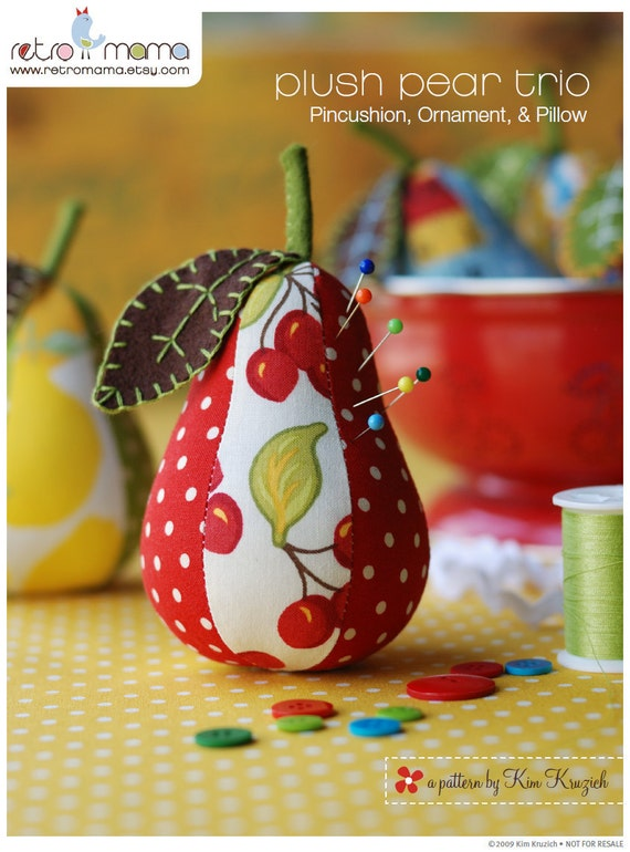 PDF Sewing Pattern for Plush Pear Pincushion, Ornament, and Pillow Instant Download