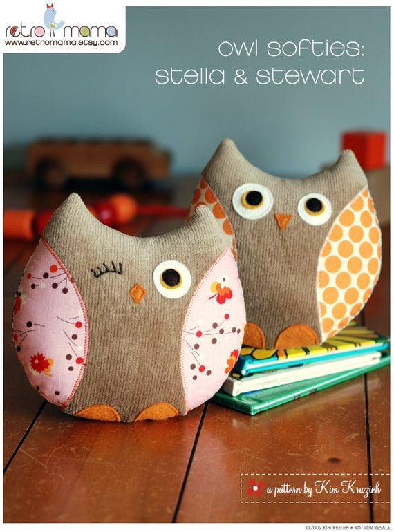 items similar to stella and stewart owl softies pdf sewing