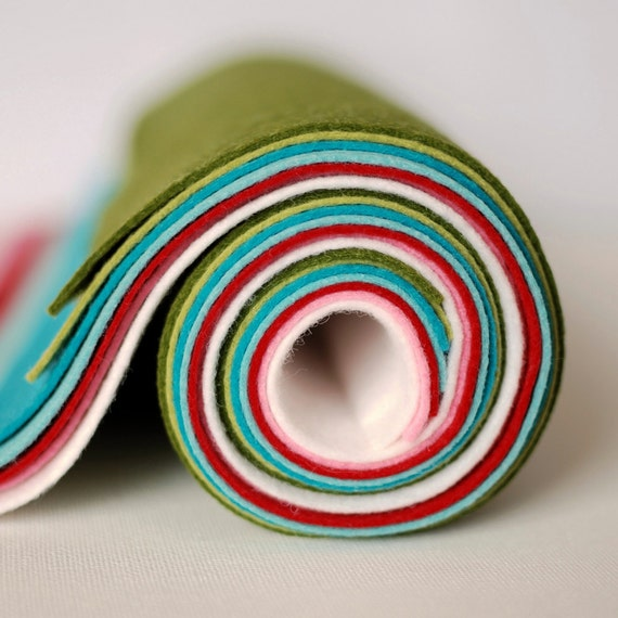 Soft Retro Collection of 7 Wool Felt Blend sheets
