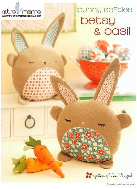 pdf sewing pattern betsy amp basil bunny softies