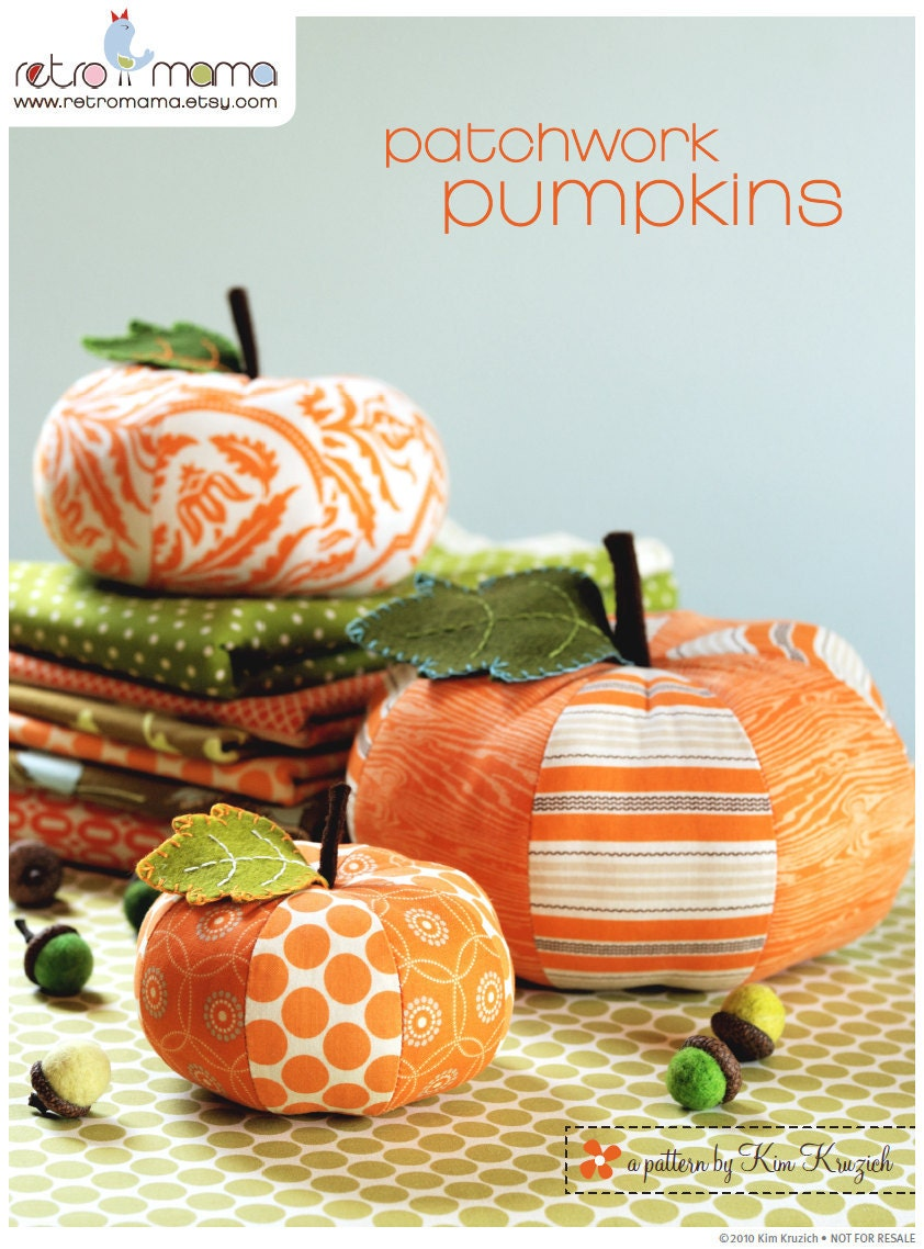 pdf sewing pattern patchwork pumpkins instant by retromama