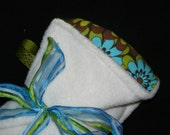 Chocolate Mint Mod Floral Print - New Abecedaria Baby Blanket, fleece and cotton flannel