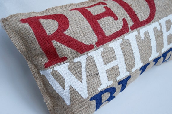 Burlap Quincy Pillow - Red, White & Blue - fourth of July - summer - patriotic