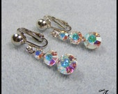 Silver Clip On Earrings with Aurora Borealis Crystals, Non Pierced Earrings