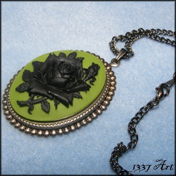 Black Rose Cameo Necklace with Green, Gothic Jewelry