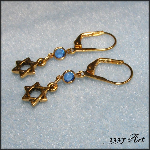 Gold Star of David Earrings with Sapphire Crystals MADE To Order
