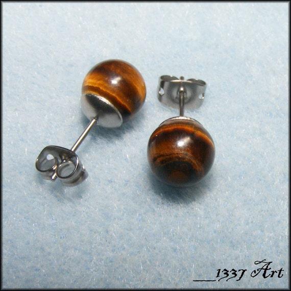 Brown Tiger Eye Gemstone Post Earrings 8mm Surgical Steel