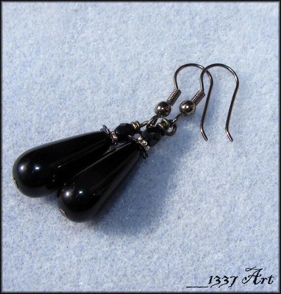 Black Teardrop Earrings, Gothic Gunmetal Hypoallergenic Jewelry